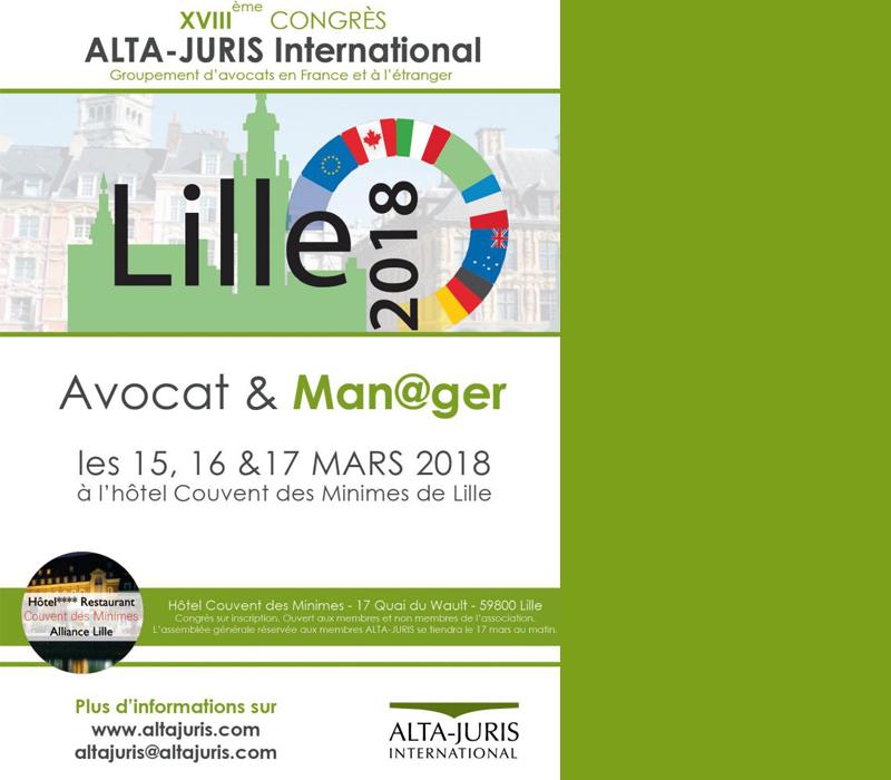 Rendez-vous Au Congrès ALTA-JURIS Du 15 Au 17 Mars 2018 à